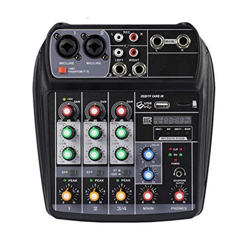 AFYH Mesas de Mezcla de Estudio, Consola de Mezcla de Tarjeta de Sonido portátil de 4 Canales El Mezclador de Audio admite conexión BT Función de grabación de Reproductor de MP3 Suministro