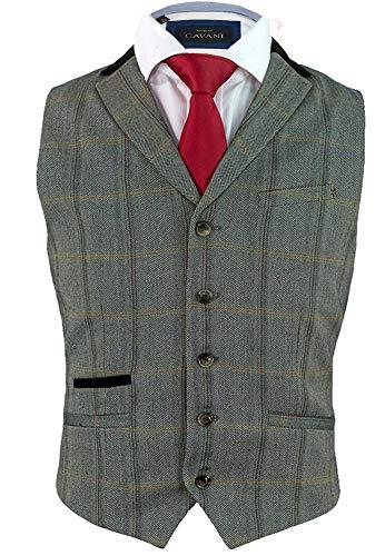 Cavani Herren Connall Slim Fit Klassisch Prüfen Tweed Weste, Braun, 52 EU/42 UK