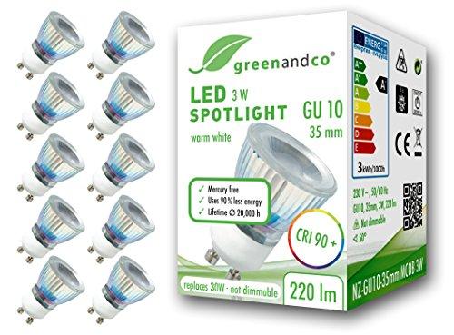 10x greenandco® CRI 90+ LED Spot ersetzt 30W GU10 35mm Strahler, 3W 220lm 3000K warmweiß 50° 230V flimmerfrei nicht dimmbar 2 Jahre Garantie