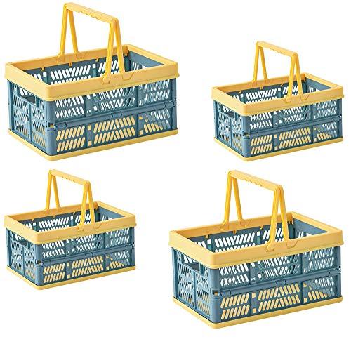 BYFU - Juego de 4 cajas de almacenamiento plegables de plástico con asas, apilables, cestas de la compra plegables, contenedores de utilidad, contenedores para cocina, baño,...