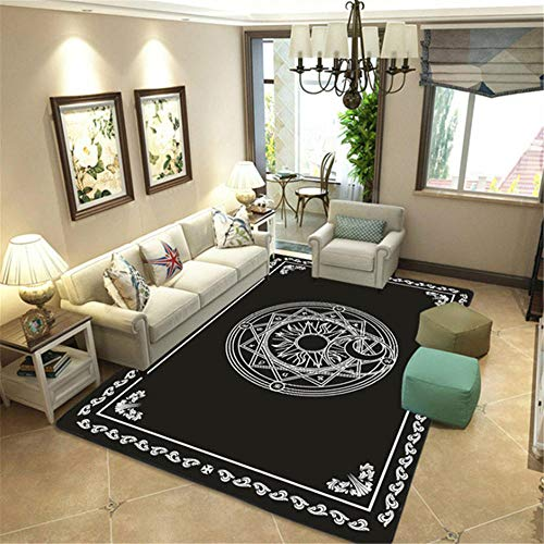 Does Not Hurt The Floor non-fading Carpet Simple and stylish black geometric circle and star pattern living room carpet, children climbing carpet not deformed Sitting Room Carpets Black 180x300cm