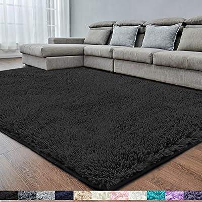 Black Super Soft Area Rug for Bedroom,5x8,Fluffy Rugs,Shag Carpet for Living Room,Furry Rug for Girls Boys Room,Shaggy Rug for Kids Baby Room,Fuzzy Rugs for Dorm Nursery,Big Anti-slip Rug,Black Carpet