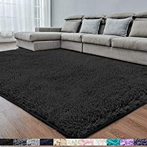Black Soft Area Rug for Bedroom,4×6.6,Fluffy Rugs,Shag Carpet for Living Room,Fuzzy Rug for Girls Boys Room,Furry Rug for Kids Baby Room,Large Anti-Slip Rug,Black Carpet,Home Decor,Bedside Rug