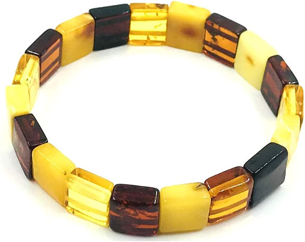 Natural Baltic Amber Stretch Bracelet for Women - Hand Made from