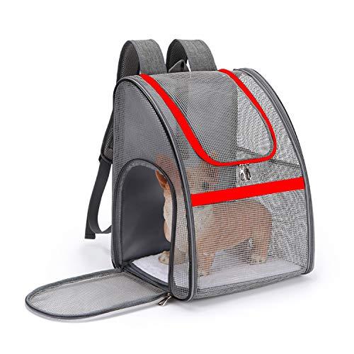 PETCUTE Hundetragetasche Kleine Hunde Atmungsaktiv Transportbox Katze Leicht Haustier Rucksäcke Outdoor Faltbarer Wanderrucksack mit Mesh Fenstertaschen Rot