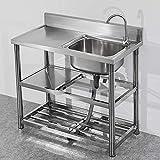 Küche Spülbecken, Bewegliche kommerzielle Küchenspüle mit heißem und kaltem Tap, 201 Edelstahl...