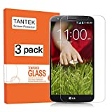 TANTEK [3-Pack] Screen Protector for LG G2,Tempered Glass Film,Ultra Clear,Anti Scratch,Bubble Free,Case Friendly