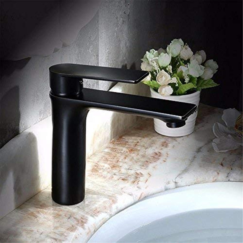 GFF Waschbecken Mischbatterie Bad Küche Waschtischarmatur Auslaufsicher Wasser sparen Schwarz Hei Und Kalt Vollkupfer Einhand Einlochmontage