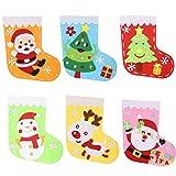 Calcetines Navidad BIGKASI (6PCS) Medias de Navidad con Aplique de Navidad/Costura de Fieltro con Aguja de Plástico, Hilo de Algodón para Niños/Manualidades/Árbol de Navidad/Reno/Santa/Muñeco de Nieve