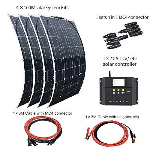 XINPUGUANG Puissant kit solaire 4 panneaux 100W + régulateur 40A