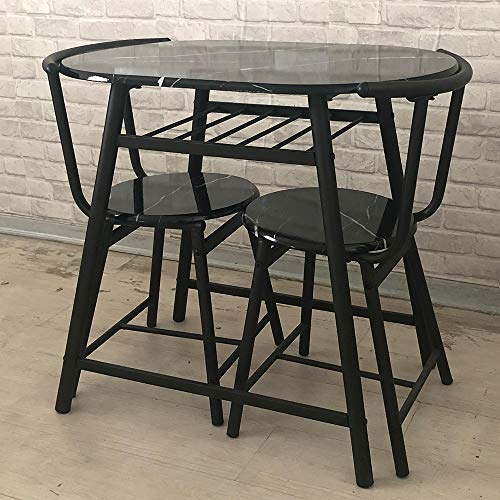 HomeSailing Black Dining Table and Chairs Set of 2 Compact 3 Piece Kitchen Breakfast Bar Set Marble-like Pattern Wood Finish Metal Frame Small Apartment Space Saving
