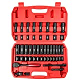 SEKETMAN 49-Piece 3/8' Drive Deep And Shallow 6-Point Impact Socket Set,(5/16-Inch to 3/4-Inch and 8-22mm), Includes Extension Bar (3 in and 6 in), Adapters & Ratchet Handle, CR-V Steel