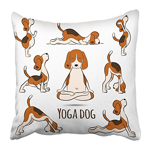 Emvency Throw Pillow Covers 20 x 20 Inches Animal Cartoon Funny Dog Beagle Doing Yoga Position Surya Namaskara San Salutation Pillow Case Decorative Cushion Cover Two Sides Print Pillowcase
