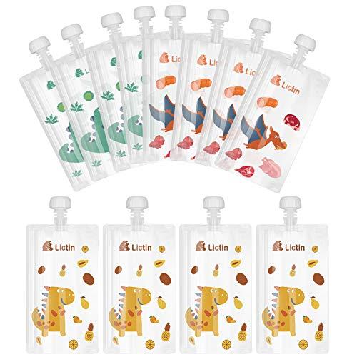 Lictin Wiederverwendbare Baby Lebensmittel Quetschbeutel 210ml (12er Set), Quetschbeutel mit Tierfrucht und Fleischmuster Aufbewahrung für Babys Kinder