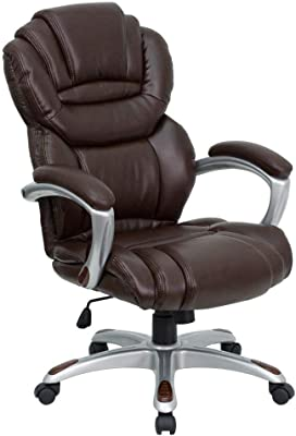 Flash Furniture High Back Brown LeatherSoft Executive Swivel Ergonomic Office Chair with Arms, BIFMA Certified