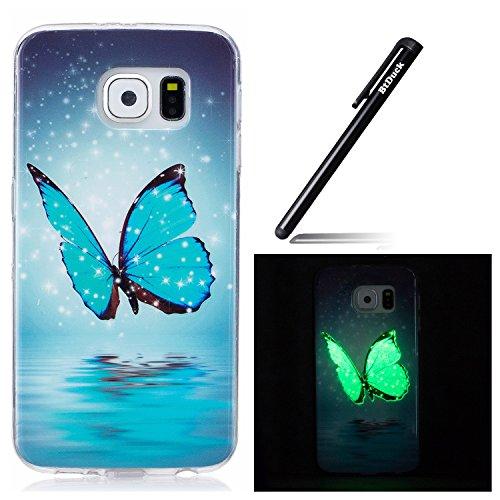 BtDuck Kompatibel mit Tasche Samsung Galaxy S6 Hülle Blau Schmetterling Slim Weich Silikon Dünn Hülle Nettes Karikatur Muster Durchsichtig Schutzhülle Bumper Leuchten In Der Nacht Tasche