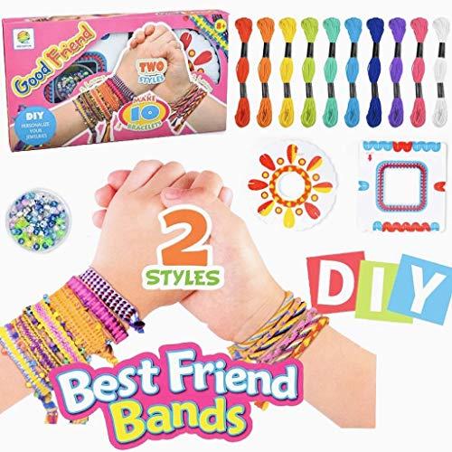 meiruier Pulsera de niños DIY,Kit de Cuentas de Cuerdas Coloridas para Hacer Pulseras para niñas Kit de Pulsera de Amistad para niños con 10 Colores de Hilo de algodón de Colores (Pink)