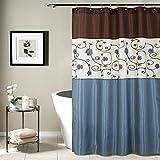 Lush Decor Blue Royal Garden Shower Curtain   Fabric Floral Color Block Stripe Neutral Bathroom Decor, 72' x 72'