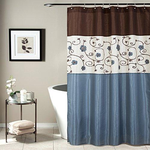 "Lush Decor Blue Royal Garden Shower Curtain | Fabric Floral Color Block Stripe Neutral Bathroom Decor, 72"" x 72"""