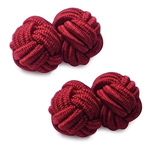 HONEY BEAR 1 Paar Herren/Damen Seide Stoff Knoten Seidenknoten Manschettenknöpfe für Hemd/Kleid zum (Dunkelrot)