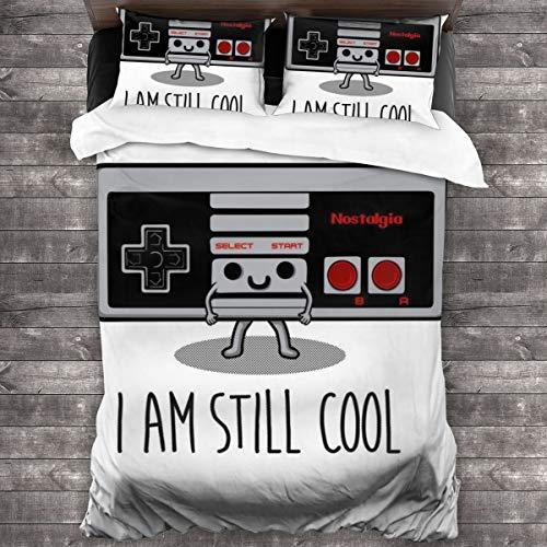 """KUKHKU 3-teiliges Bettwäsche-Set mit Aufschrift """"I Am Still Cool NES Controller"""", Bettbezug, 218 cm x 70 cm, dekoratives 3-teiliges Bettwäsche-Set mit 2 Kissenbezügen"""