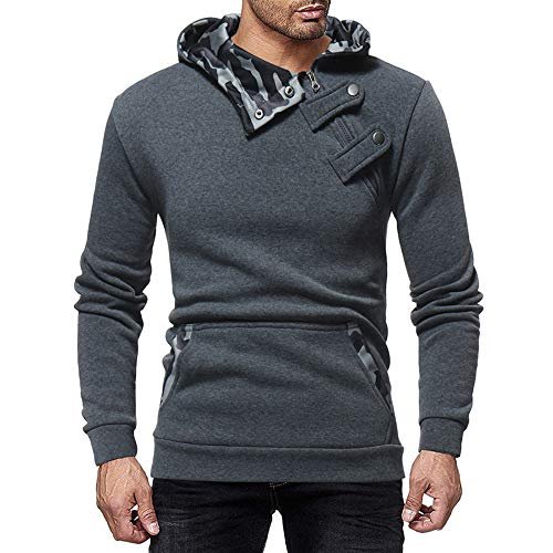 BOZEVON Herren Sweatshirt - Herbst Winter Camouflage Hut Revers Jacke Slim Fit Sweatshirt.