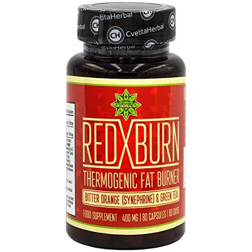 Red X Burn | 80 Kapseln x 400 mg (80 Tage Versorgung | Bitterorangenextrakt | Grüntee-Extrakt | Tonische Wirkung | Natürliche Nahrungsergänzung von Cvetita Herbal (1)