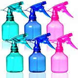 Youngever 6 Pack Empty Plastic Spray Bottles, Spray Bottles for Hair and Cleaning Solutions, 3 Assorted Colors (8 Ounce)