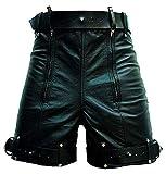 Mens Real Black Leather Short Chastity Bondage Shorts with Locking Rear Zip BLUF Gay Waist Size 38'