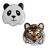 Lorigun Panda-Tiger Parche de Lentejuelas Intercambiable, para Coser en Apliques...