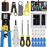 MAYLINE Juego de herramientas de red, probador de cables Herramientas de reparación Cortador de pelado de cables, Engarzador coaxial Engarzado, Punch down RJ11 Cat5 Cat6 Stripper de detector(Blue)