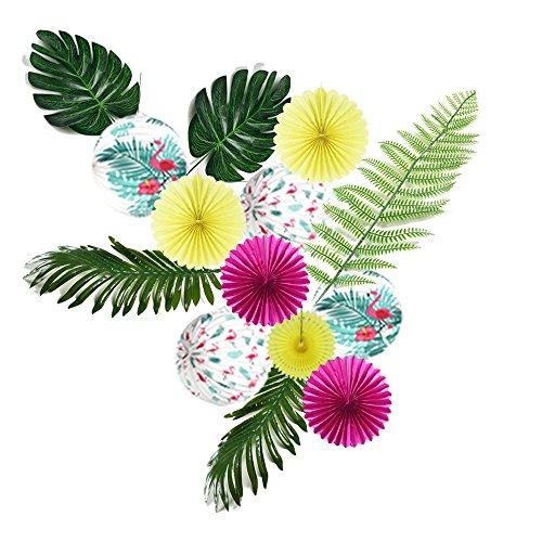 Easy Joy Sommer Party Hawaïi Dekoration Kit Flamingo Tropische Blätter Palmier Papier Lampion Dekor (Pink, Grün)