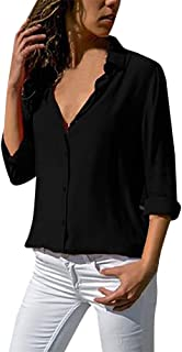 Aniywn Women Casual Chiffon Long Sleeve Shirt Tops Stand Collar Office Lady Formal Loose Blouse