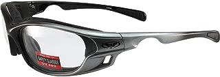 Global Vision Ratchet Padded Motorcycle Safety Sunglasses Grey Frames Clear Lenses ANSI Z87.1