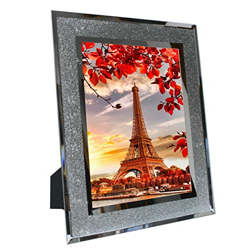 Marco de fotos de 15 x 20 cm, con cristal brillante y borde de espejo, decorativo y listo para colgar.