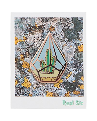 Real Sic Cactus Enamel Pin – Cute Cactus in Geometric Terrarium Lapel Pin – A Succulent Garden for Backpacks, Jackets, Hats & Tops
