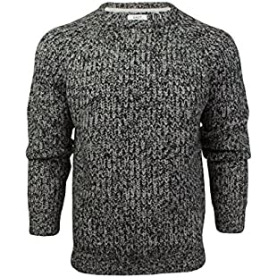 Xact Mens Jumper Fashion Chunky Fisherman Fleck Knit Long Sleeve (Black) M