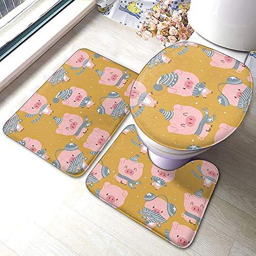 N \ A Cute Baby Pig Blue Pastel Cartoon 3 Piece Bathroom Pads Includes Anti-Skid Pads Bath Mat + Contour + Toilet Lid Cover