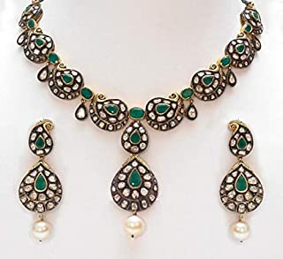 costozon uncut necklace 39.1 Tcw Emerald, Pearl Rose Cut Diamond 925 Sterling Silver reproduction jewelry