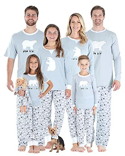 Sleepyheads Holiday Polar Bear Family Matching Grey Pajama PJ Sets, Womens Long Sleeve - Bear, Large