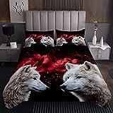 Copriletto trapuntato con motivo lupo rosso rosa per bambini ragazzi ragazze adolescenti Wild Wolf Decor 3D Safari Animal Coverlet Set Cool Wildlife trapuntato 3 pezzi matrimoniale