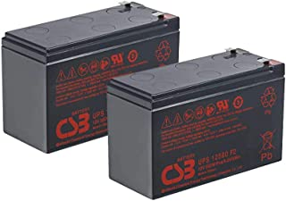 Pair of CSB UPS12580-12 Volt/9 Amp Hour (96.7 Watts) Sealed Lead Acid Battery replaces HR1234WF2 with 0.250 in. Fast-on Terminals