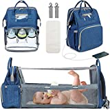 3 in 1 Diaper Bag Backpack with Changing Station, Travel Bassinet Foldable Baby Bed, Baby Bag Portable Crib, Mummy Bag, Large Capacity, Waterproof, USB Charging Port, Blue (Blue)
