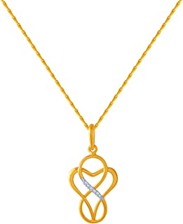 P.C. Chandra Jewellers 14k (585) Yellow Gold and American Diamond Pendant for Women