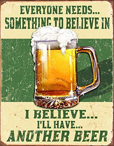 Desperate Enterprises Beer Believe in Something Tin Sign USA 40x31 cm S2390