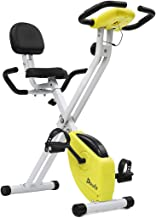 Exercise Bike Foldable with Back Support, Doufit EB-01 Adjustable Magnetic Workout Bicycle for Home Use, Folding Upright Indoor Cycling Bike with Pulse Monitor and Quiet Flywheel