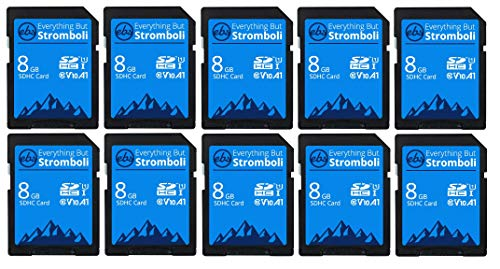 Everything But Stromboli 8GB SD Card (10 Pack) Speed Class 10 UHS-1 U1 C10 8G SDHC Memory Cards for Compatible Digital Camera, Computer, Trail Cams