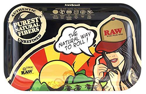 RAW Small Brasil Metal Rolling Tray-27,5 x 17,5 cm, Schwarz, M