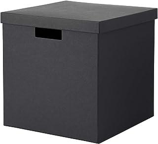 IKEA ASIA TJENA - Caja de almacenaje con tapa, color negro