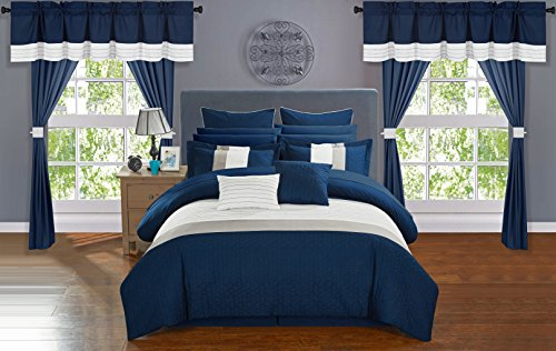 Chic Home Vixen 24 Piece Comforter Set Color Block Quilted Embroidered Complete Bag Sheets Bed Skirt Decorative Pillows Shams Window Treatments Curtains Included, Queen, Navy